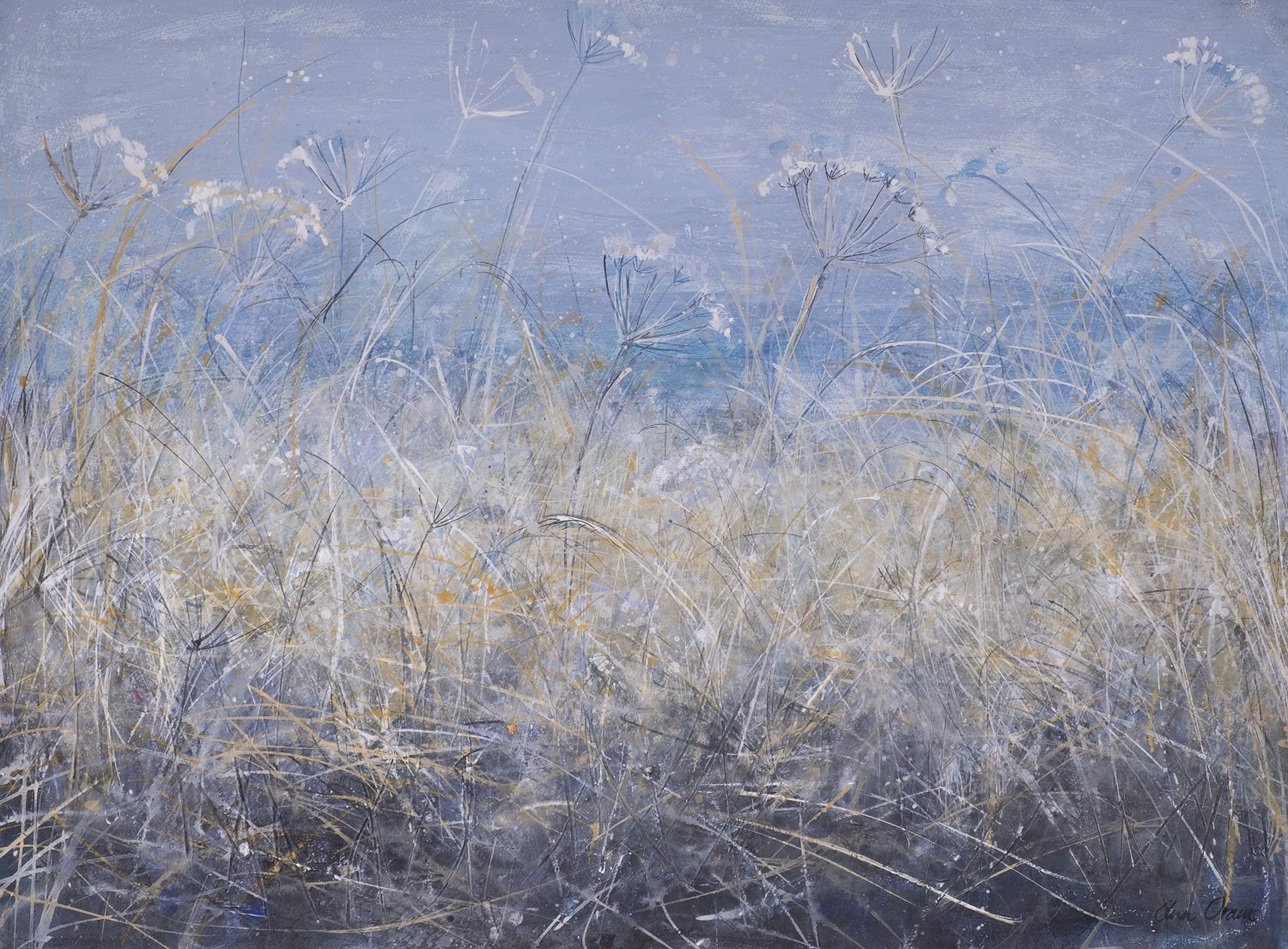 'Frosted Grasses and Seedheads' Ann Oram Acrylic and ink on textured ground, on paper, 56x75cm, 2017