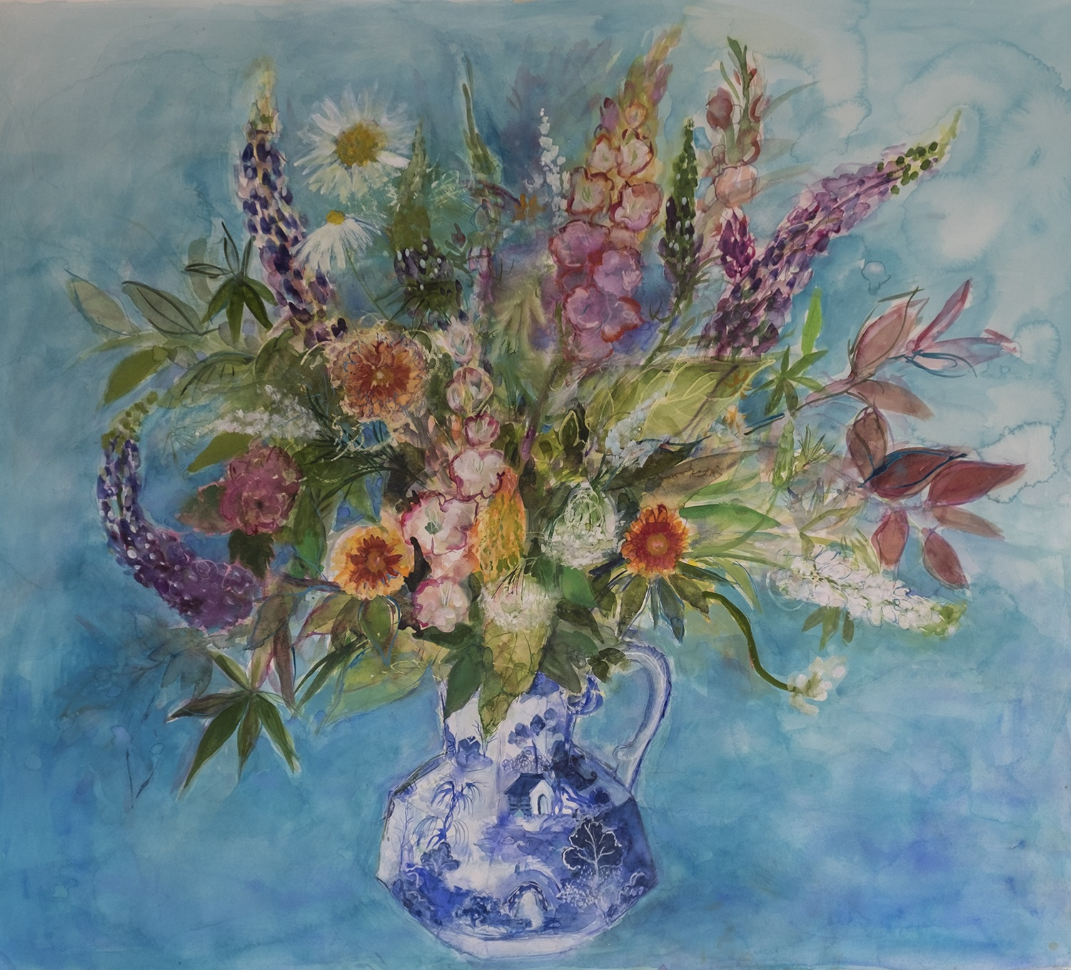 'Flowers from an Edinburgh Garden' Ann Oram Watercolour and gouache, ink and oil pastel on Arches Paper, 2017