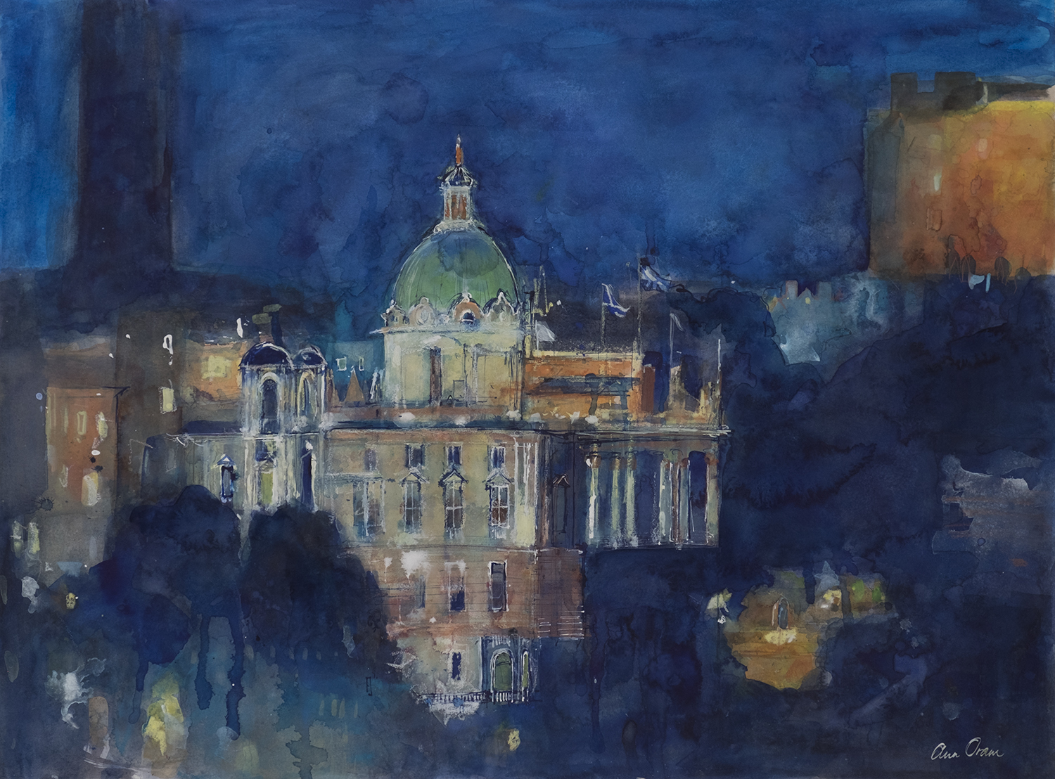 'Bank of Scotland at The Mound. Nocturne' Ann Oram Watercolour, gouache, ink and oil pastel on paper, 54x76cm, 2017