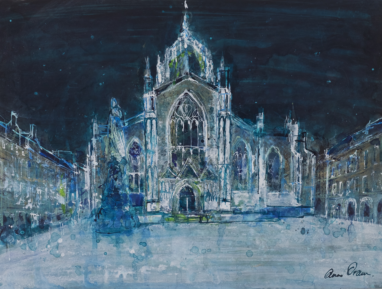 'St Giles, Dark Sky' Ann Oram Acrylic and ink on board, 30x30cm, 2017