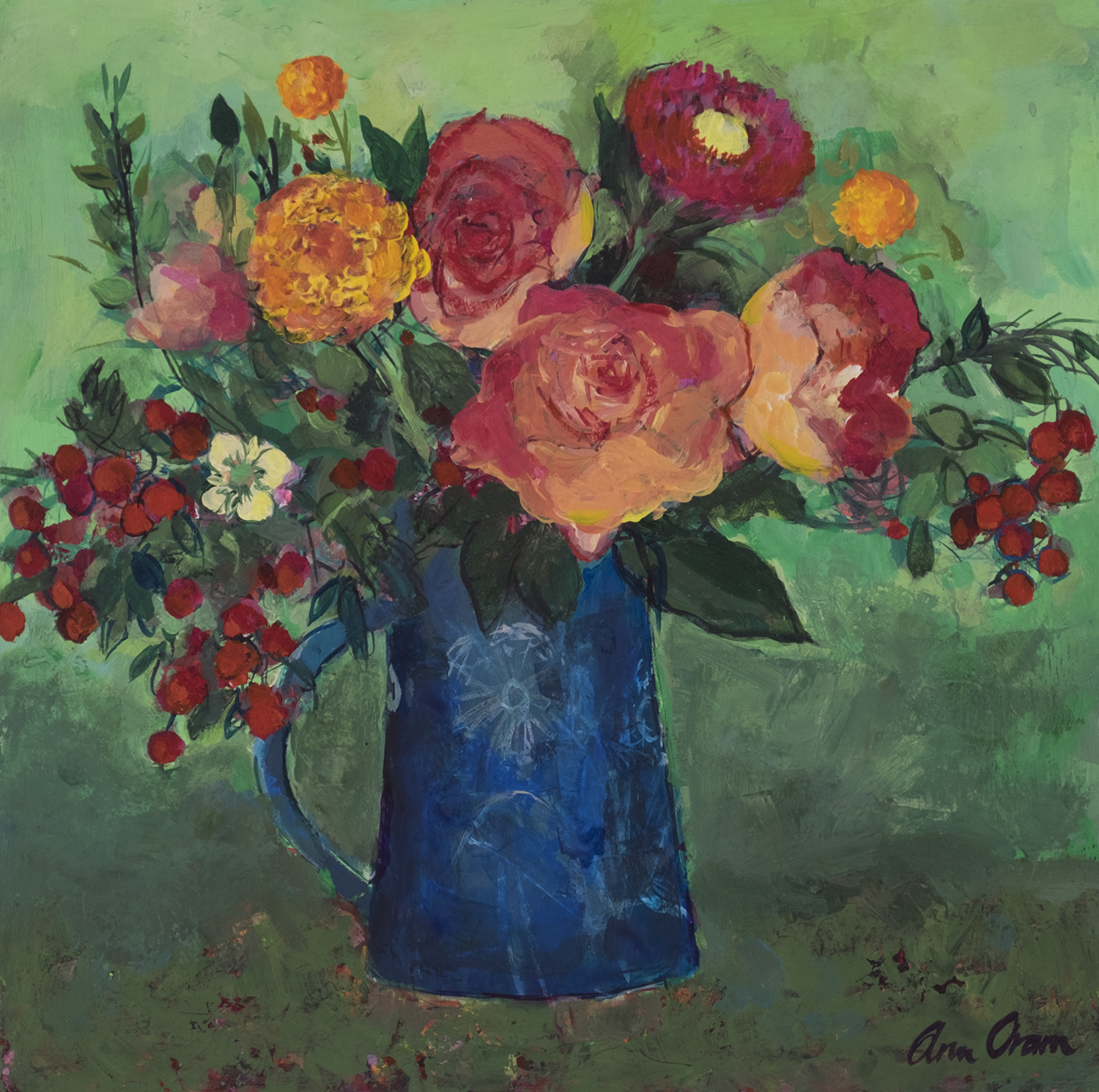 'Garden Roses on Green' Ann Oram Acrylic on Board, 30x30cm, 2017