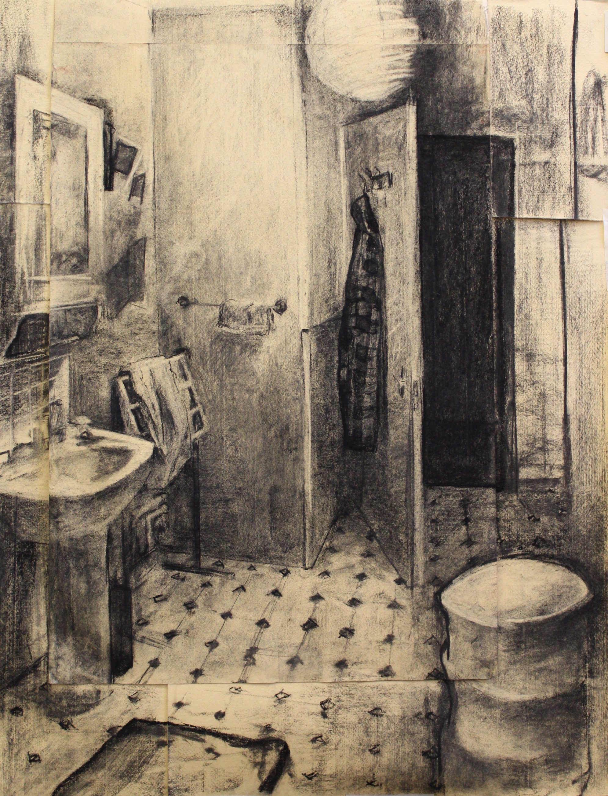 'Bathroom' Tim Patrick Charcoal on Paper, 100x80cm, 2017
