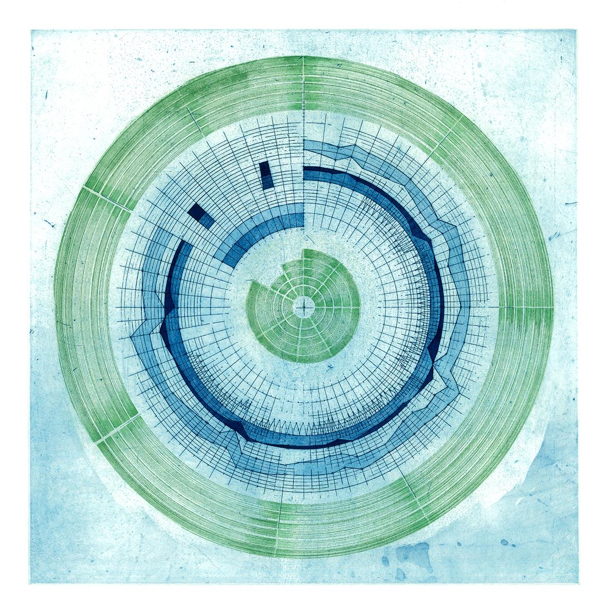 'Circular Score #4' Liz K. Miller Etching, 50 X 50 cm, 2017