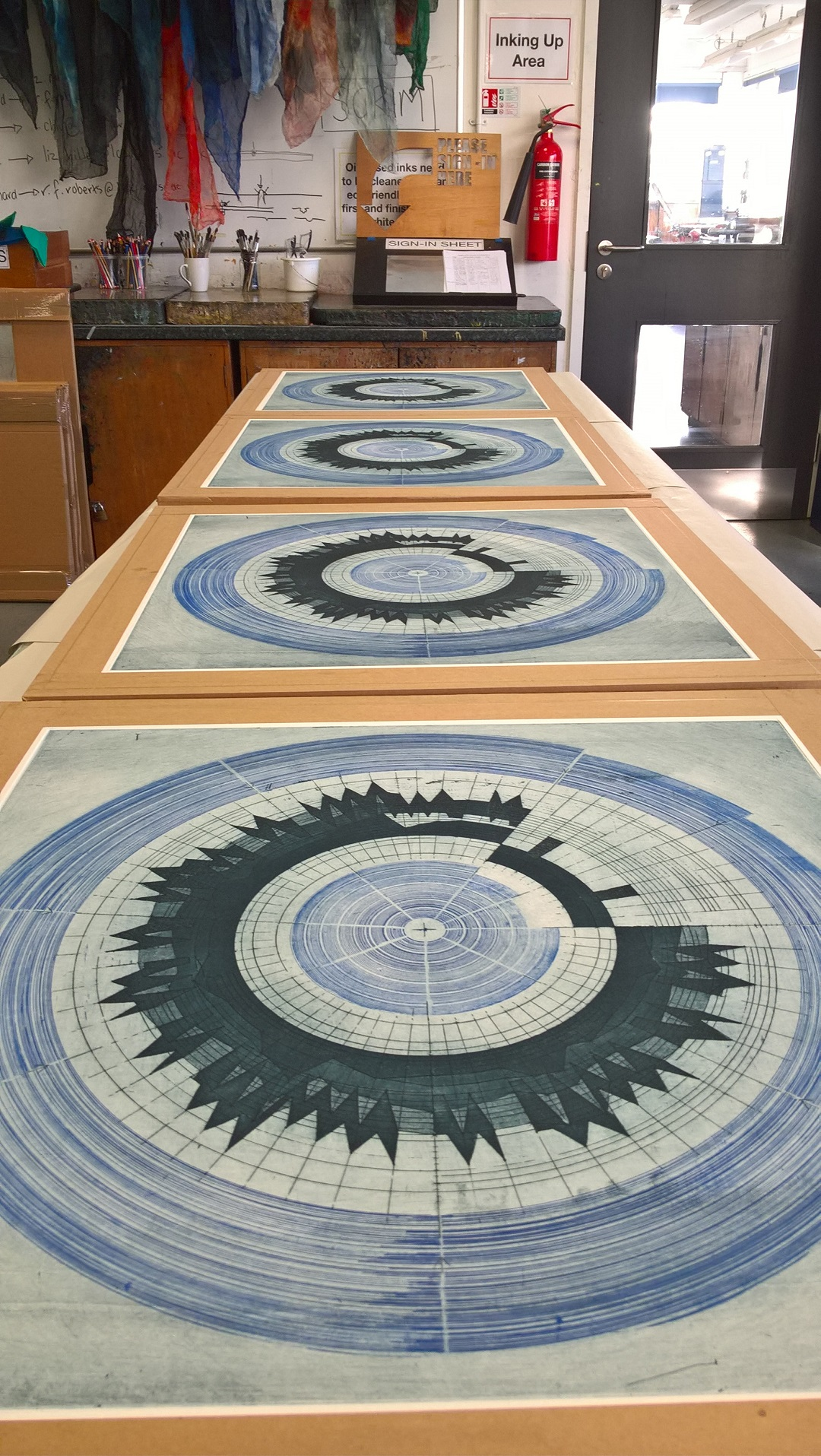 'Circular Score #6' (Work in progress, studio documentation – Summer 2017) Liz K. Miller Etching, 50 X 50 cm, 2017