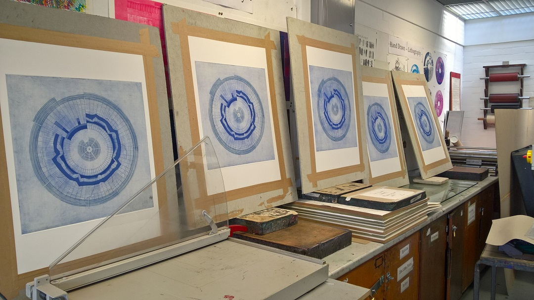 'Circular Score #7' (Work in progress, studio documentation - Summer 2017) Liz K. Miller Etching, 50cm x 50cm, 2017