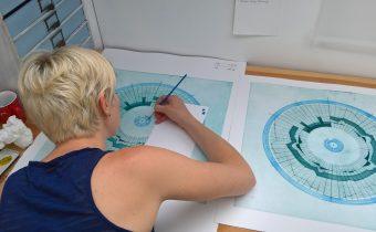 'Circular Score #9' (Work in progress, studio documentation – Summer 2017) Liz K. Miller Etching, 50 X 50 cm, 2017