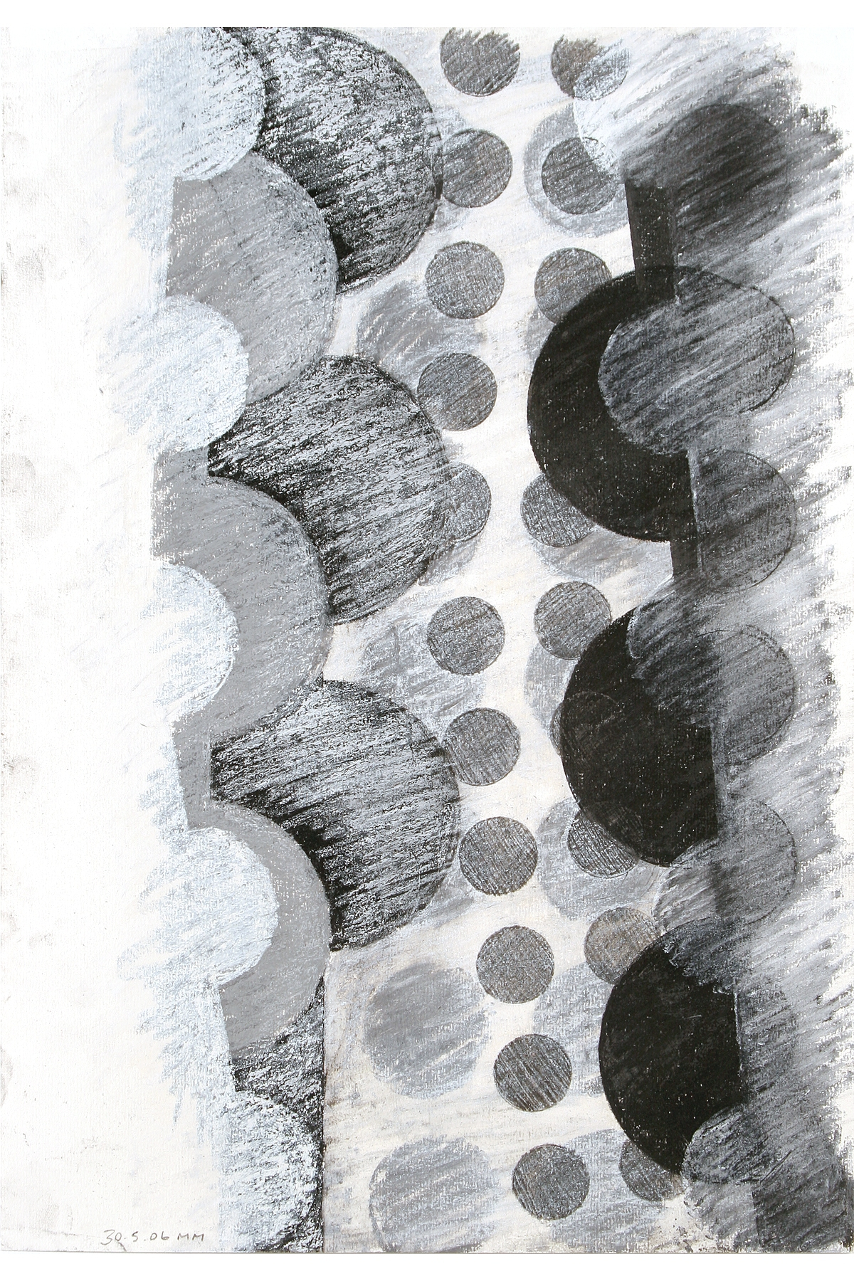 Mark Milnes, Dalek Drawing 14, Charcoal and pencil on paper.
