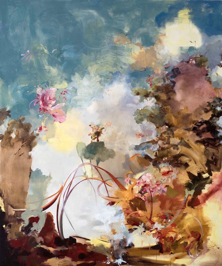 Flora Yukhnovich, Jouissance (2017) Oil on linen 215 x 180 cm