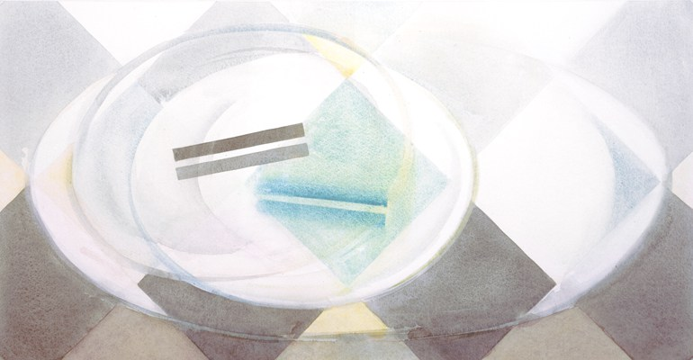 Janet Boulton, Glass & Check Oval- One Plate, 38 x 72.5 cm