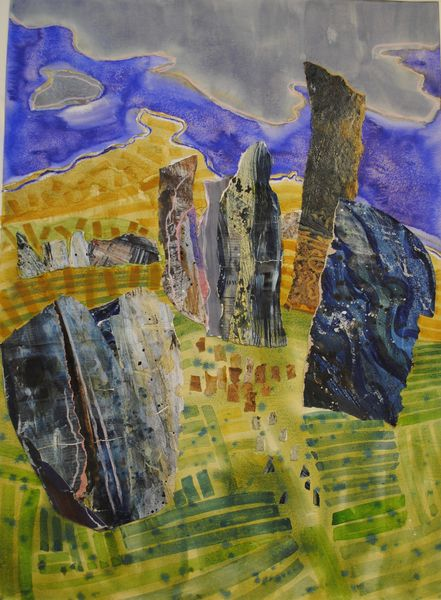 Nicky Sanderson, Calanais III Loch Roag collage and watercolour 80 x 60cm