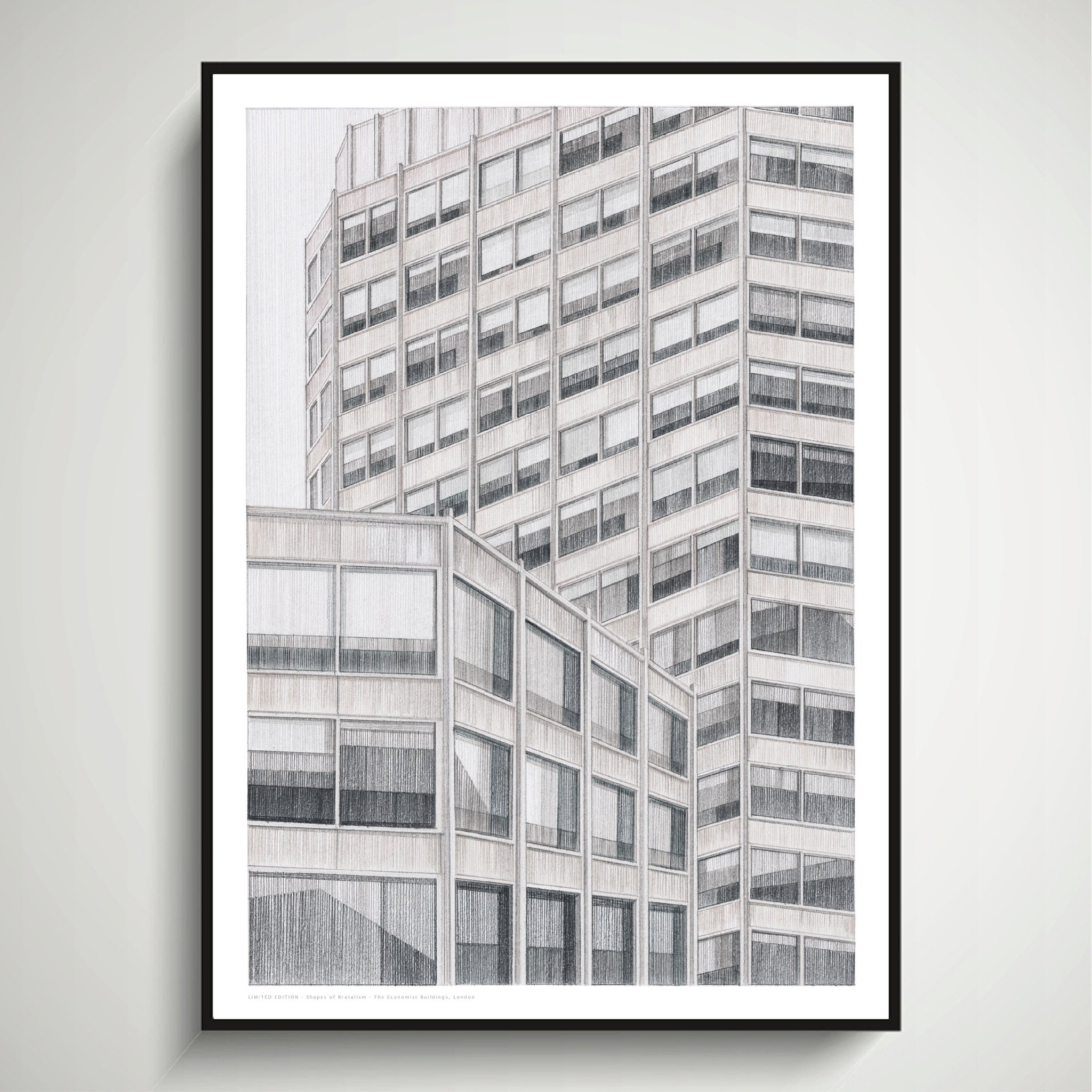 Oscar Francis, Shapes of Brutalism Economist Buildings, London, A2 Limited Edition of Hand Drawing
