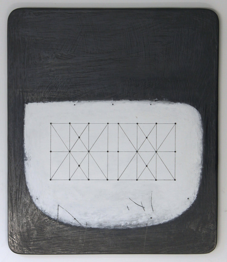 Paul Fry, Untitled Space - Box Kite 28.1, 26 x 21, graphite and gouache on wood, 40cm x 35cm framed.