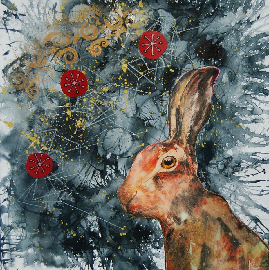 'Sky Hare' Andrea Clement Mixed Media, 25cm x 25cm, 2017