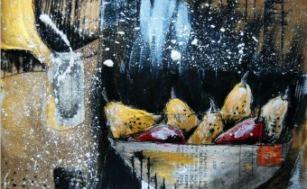 'The Black Spotted Pears' Andrea Clement Mixed Media, 21x25cm, 2014