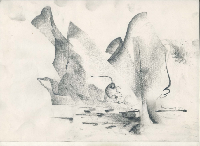 Vidya Sagar, Untitled, 1992-1993 Graphite on Paper, 10. 22cm x 29.8cm Courtesy of Anjalika and Jyoti Saga.
