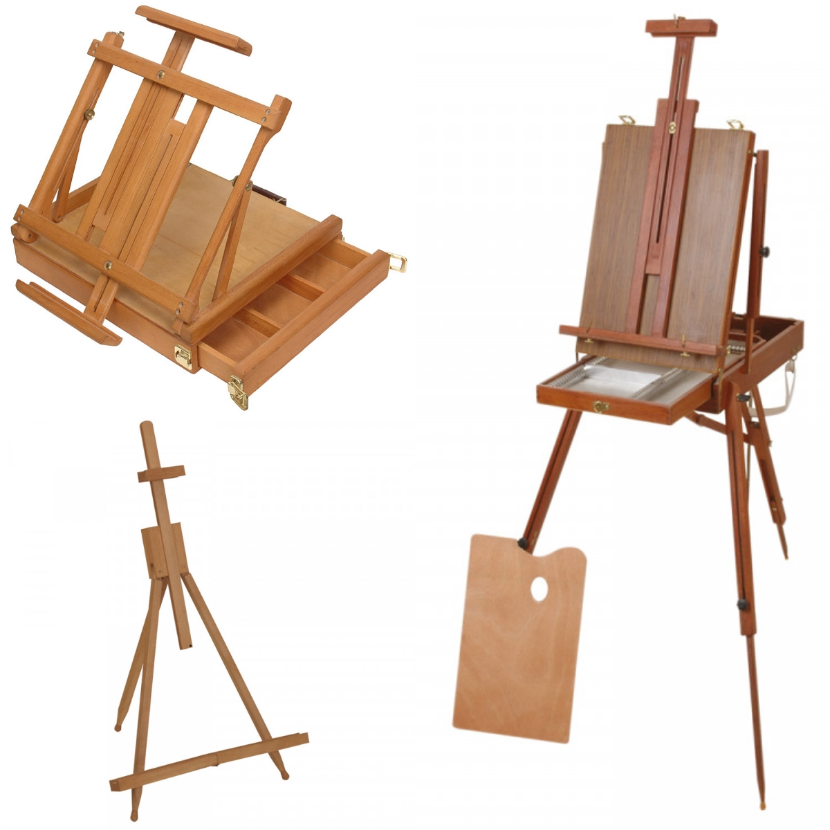top left: Jackson's Wentworth Box Easel (code: EJ016); bottom left: Jackson's Tripod Table Easel (code: EJ015); right: Jackson's French Style Box Easel (code: EJ019)