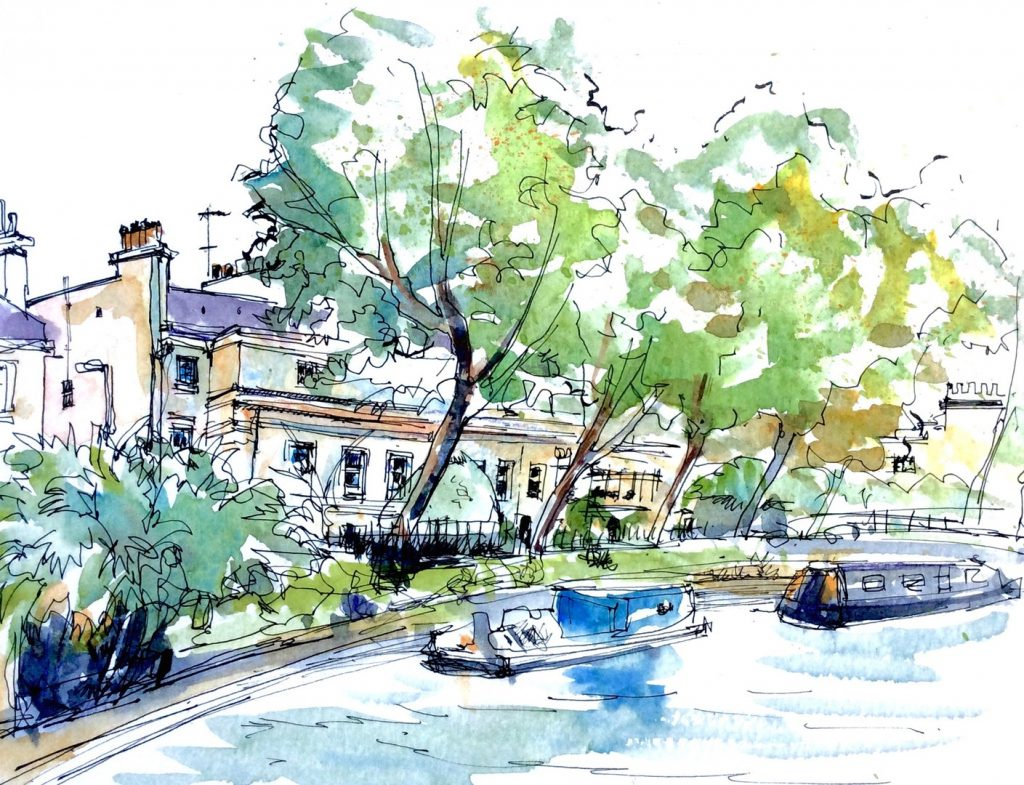 'Little Venice, London' by Katie Clare Description: Canal boats and Regency style town houses in Little Venice, London. Medium: Pen and watercolour on A4 watercolour paper, sketched on location.