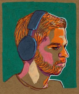 'Portrait of Xizt' by Monika Urbańczak Description: Minimalist portrait of CS:GO pro gamer Xizt. I used Winsor & Newton Brushmarker as a sketch, added some colours with POCS markers and in the end added outline withFaber-Castell Pitt Artist Pen brush. Original artwork size is 9cm x 10,5cm