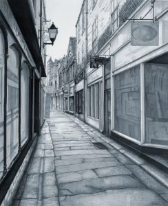 'Cathedral Lane' by Alice Hole Description: This is a view of an old and atmospheric lane in Truro, Cornwall. I wanted to capture the historic and almost mysterious ambience of the scene. I could feel the echoes of the people who had lived, worked and travelled along here throughout the years. I want people to feel like they can 'walk' into the drawing and imagine what is happening just around the corner and feel a part of the stories themselves… This drawing (49 x 59.5cm) was produced using black fine line pens and marker pens in shades of grey. I found that drawing purely tonally helped to convey the atmosphere that I felt. Medium: Copic Markers