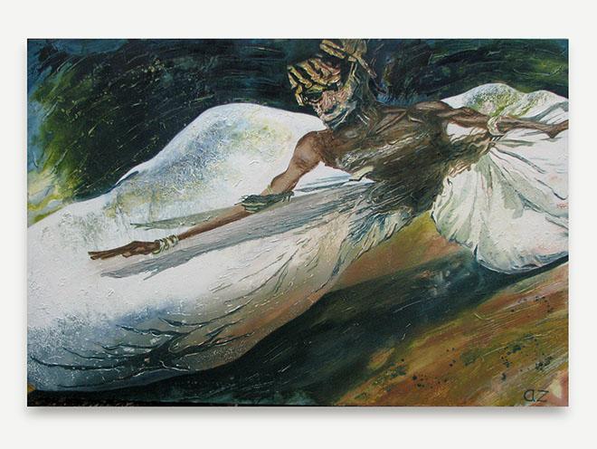 Annie Zamero ShambHala Warrior. Oil and acrylic on canvas, 150 x 100 cm