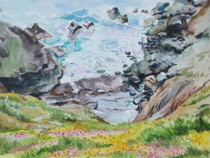 'Lizard Peninsula' by Anita Bhatia Description: Lizard's Peninsula southern most tip of England is such an inspiring location. The sea, the hills, the flowers, the lovely open sky, all of it coming together to make this beauty landscape. Just could not help but create it in watercolours. Medium: Camel Watercolours, 18 x 24cm