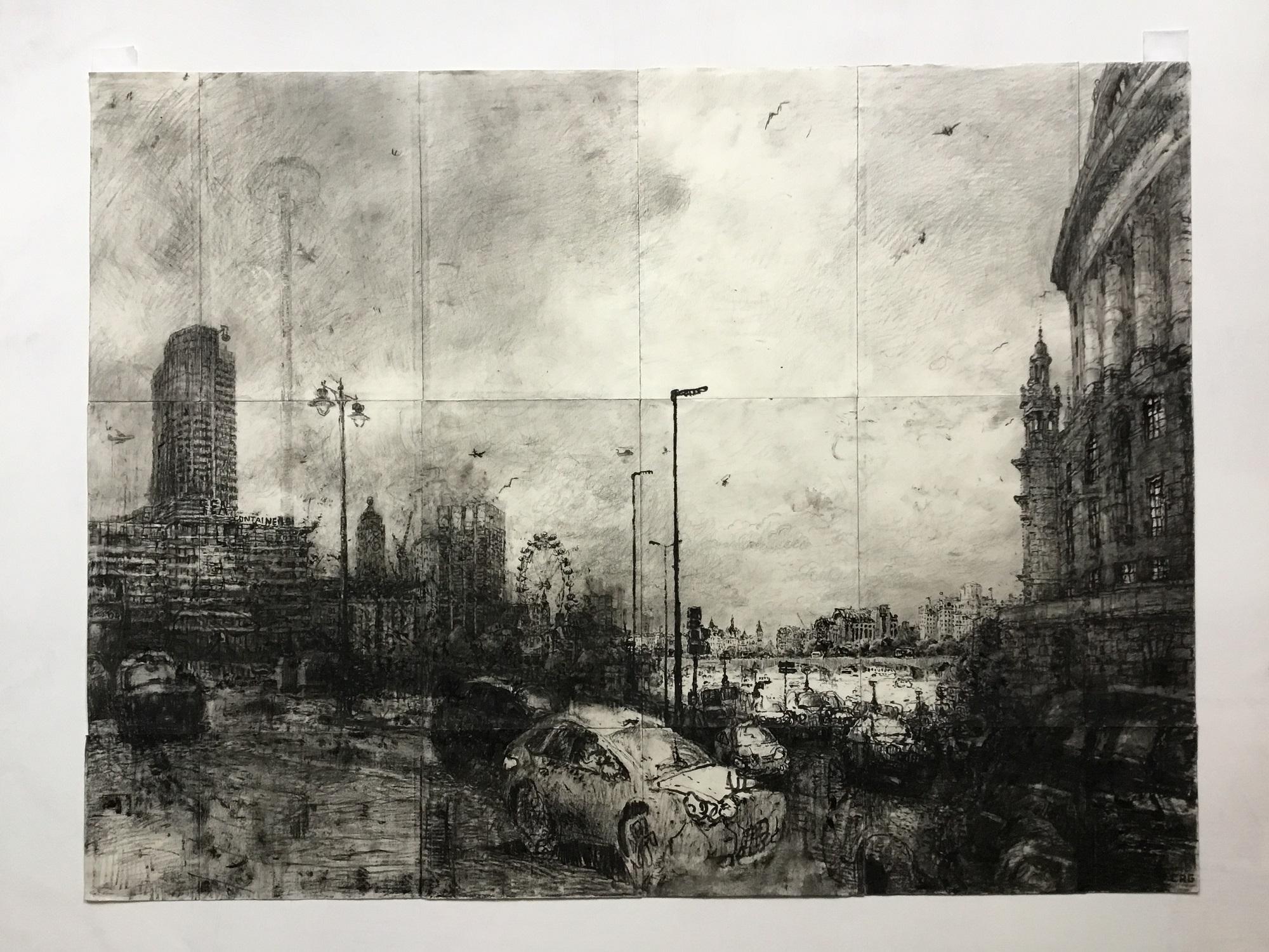 'Blackfriars Traffic' Christopher Green, Pencil, 60x80cm, 2017