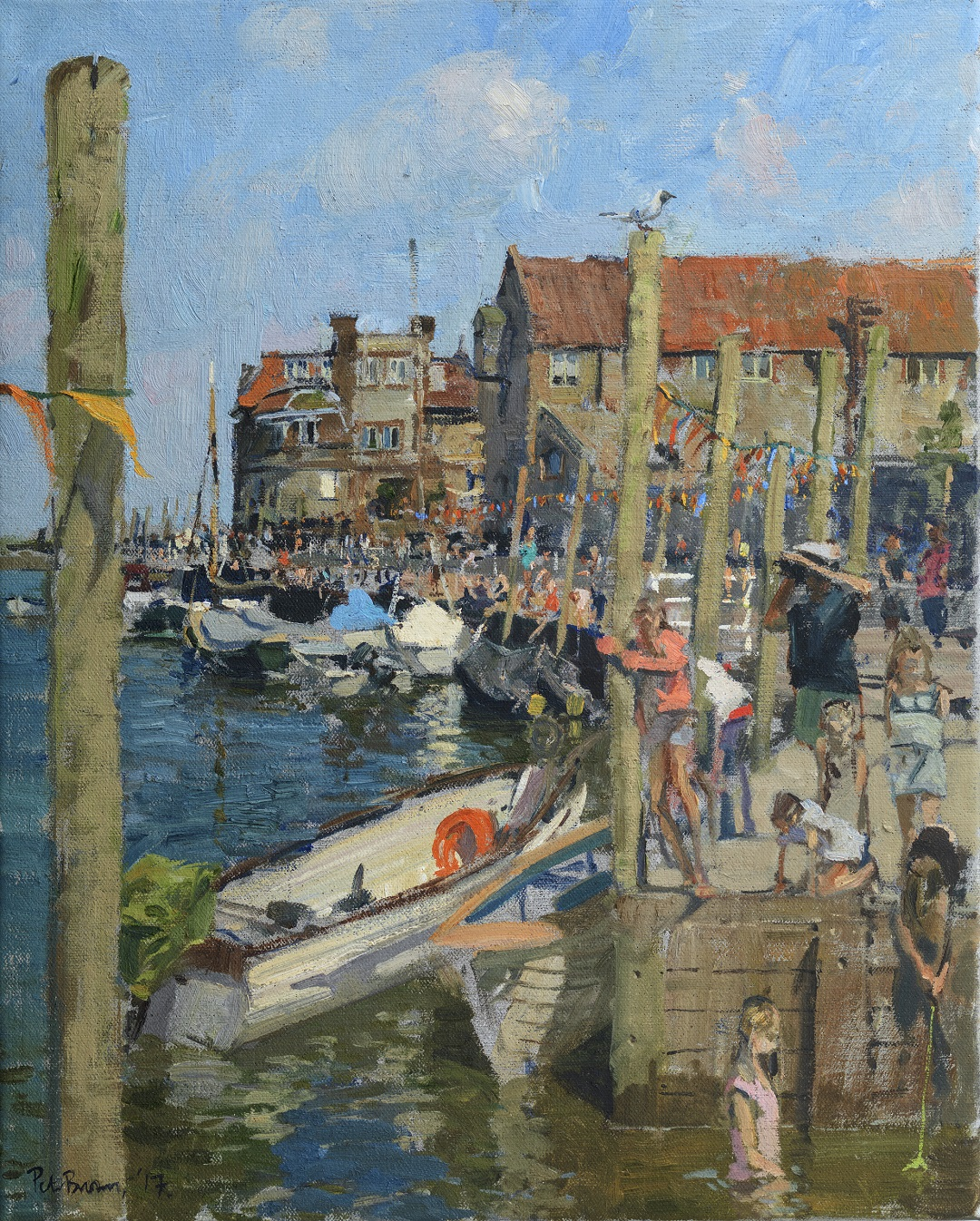 'Crabbing at Blakeney' Peter Brown Oil on canvas, 20 x 16, 2017