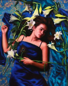 'Fleeting Lily' – Vicki Sullivan Description: This painting is about the Fleeting time that we have in life….the way time passes so swiftly Medium: Jackson's, Schmincke, Van Gogh, Vasari and Winsor & Newton Oil on canvas, 102cm x 80cm