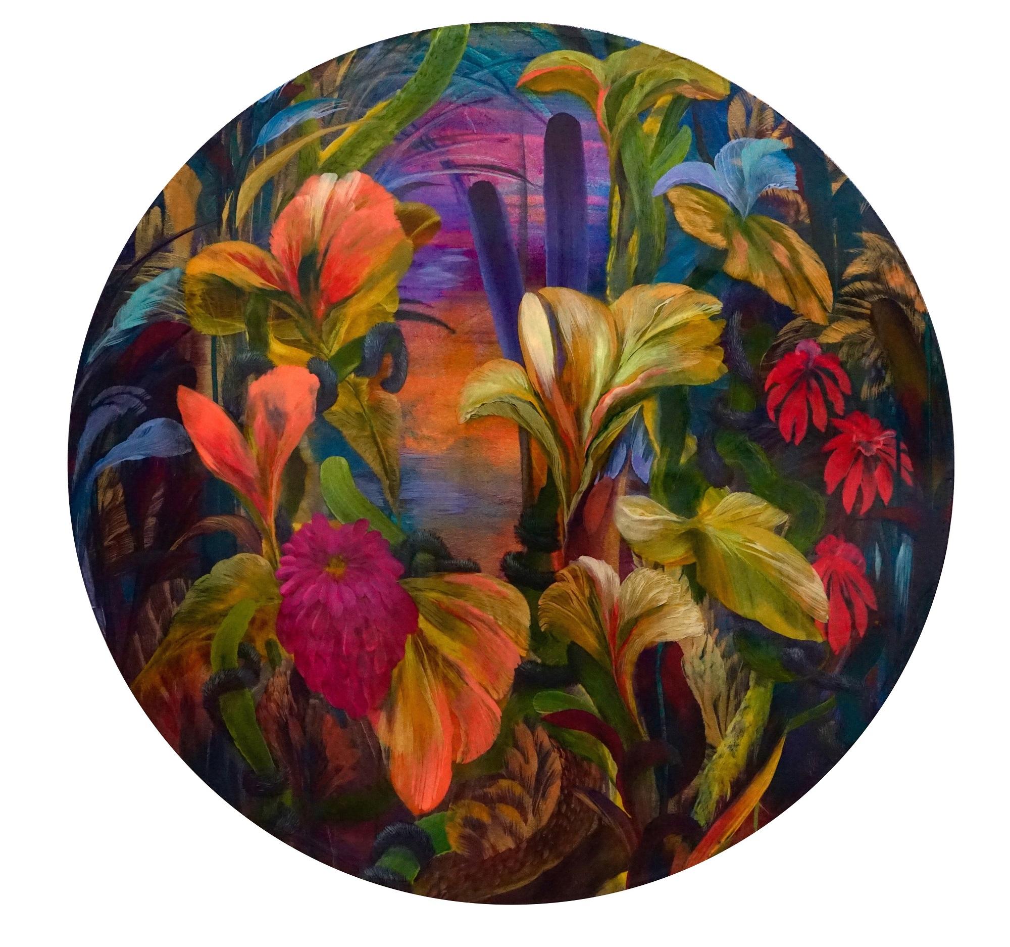 'Kudzo' Orlanda Broom Acrylic and resin on canvas, 100cm diameter, 2017