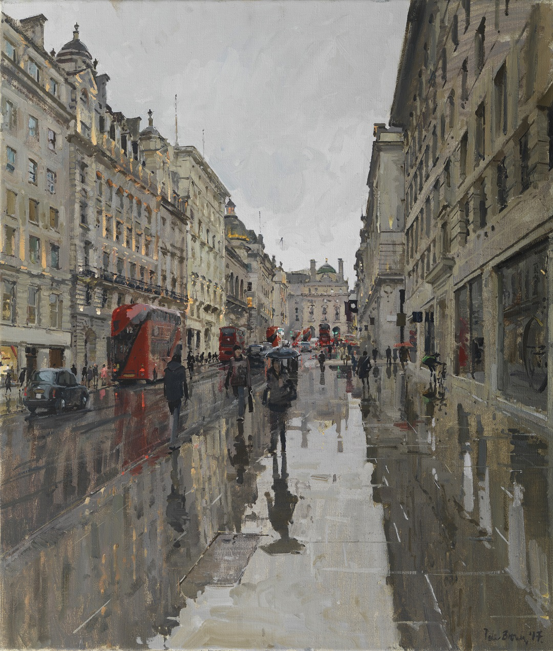 "'Lower Regent Street in the Rain, Reflections' Peter Brown Oil on canvas, 35"" x 30"""