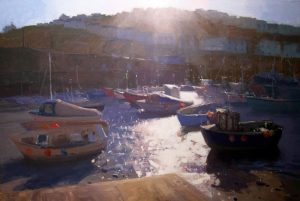 People's Choice Award – 2nd Place 'Mevagissey Harbour' – Jenny Aitken Description: Dramatic summer lighting at Mevagissey, Cornwall. I loved the play of sun on the water and vibrant colour of the buoys. Medium: Daler Rowney and Golden Acrylics on Board, 60 x 86 cm