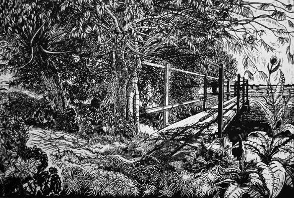 Myrtle Pizzey, Footbridge over Sheppey, Linocut