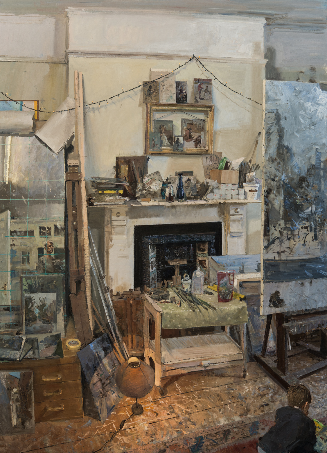 "'Ned Reading on the Studio Floor' Peter Brown Oil on canvas, 60"" x 40"""