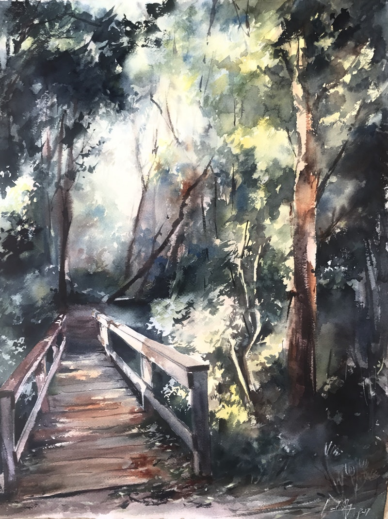 'Hidden Path' by Sophie Rodionov Description: Watercolour painting which was started on location and finished in a studio. Medium: Watercolour (Daniel Smith, Holbein, Schmincke Horadam) on paper. 38 x 56cm
