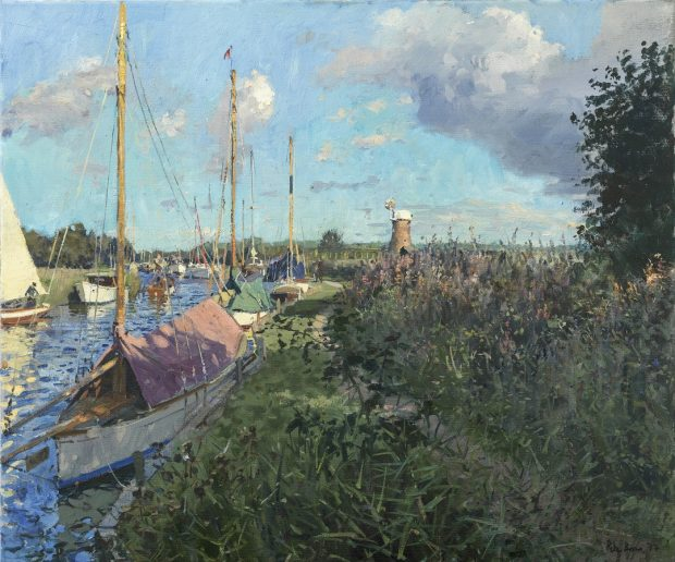 'The Ancient Mariner Mooring, Horsey Mere' Peter Brown Oil on canvas, 25 x 30, 2017