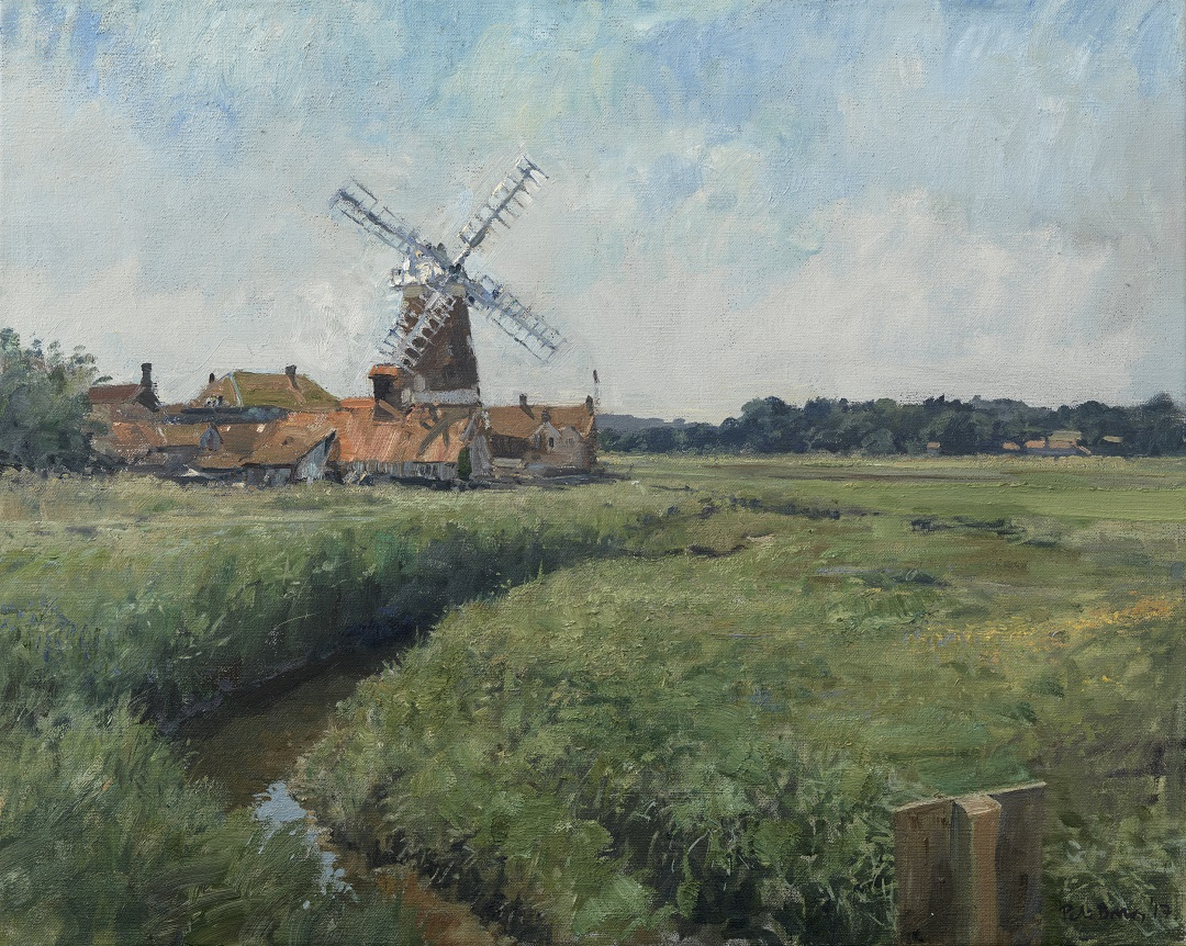 'The Windmill at Cley' Peter Brown Oil on canvas, 20 x 25 inches