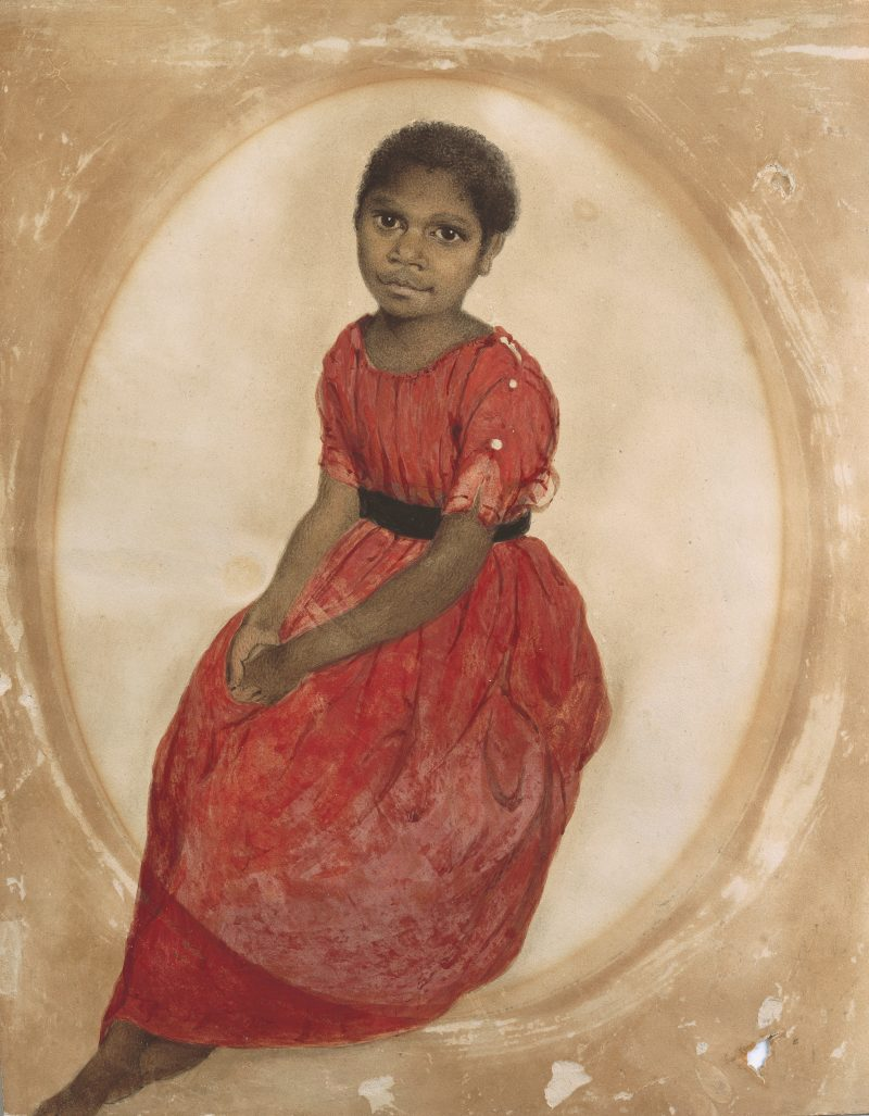 Thomas Bock, Mithina (Mathinna), 1842, watercolour, presented by J H Clarke 1951, courtesy Tasmanian Museum and Art Gallery, AG290