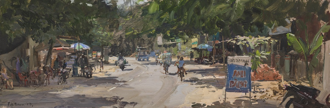 'Village outside Hoi An, Vietnam' Peter Brown Oil on board, 8 x 24, 2017