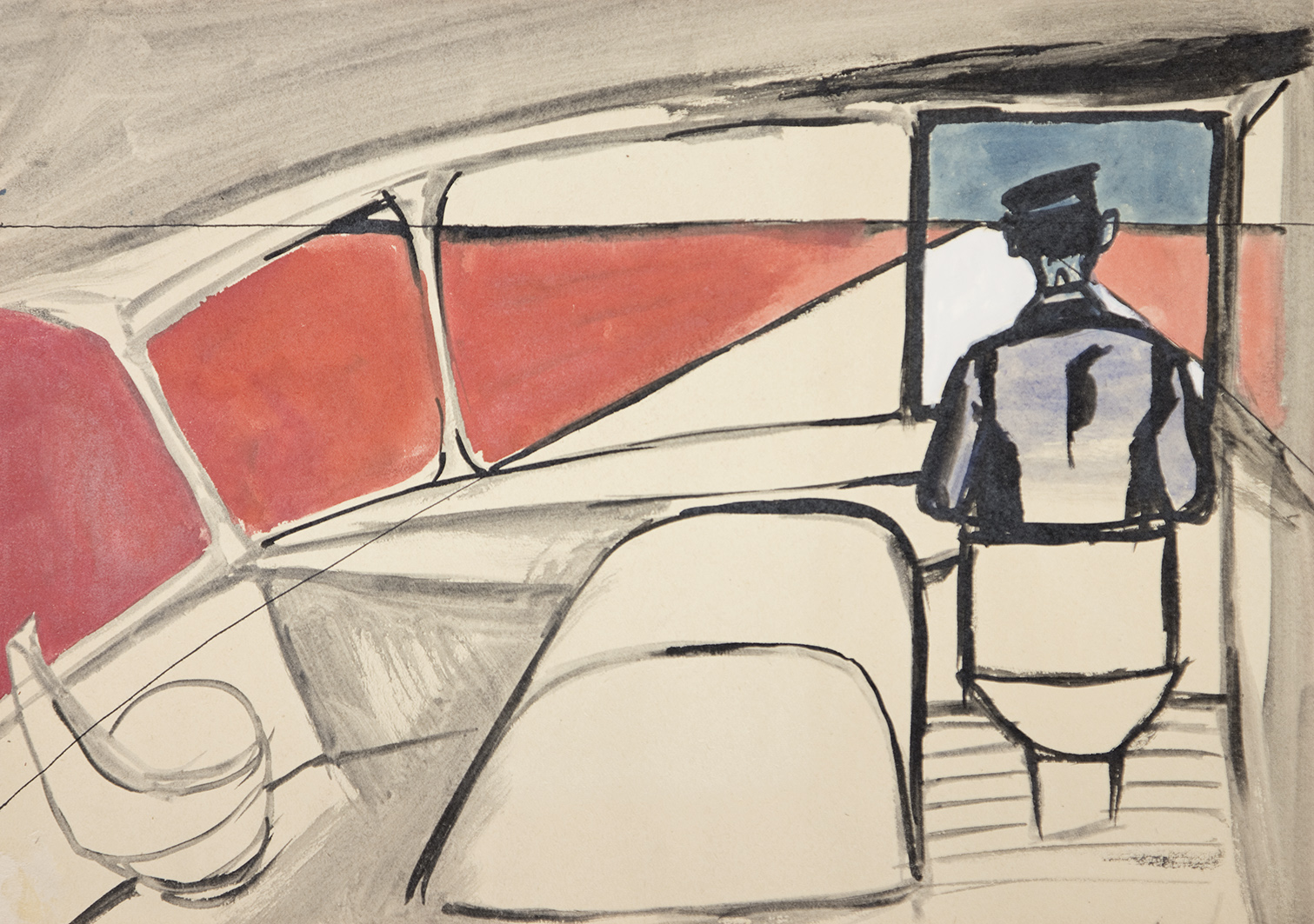 'Chauffeur no. 1144' Andrzej Wroblewski Watercolour, ink, paper, 29.7 x 42 cm, not dated Private collection, courtesy of the Andrzej Wróblewski Foundation www.andrzejwroblewski (Exhibited in DE. FI. CIEN. CY at Drawing Room, 2015)