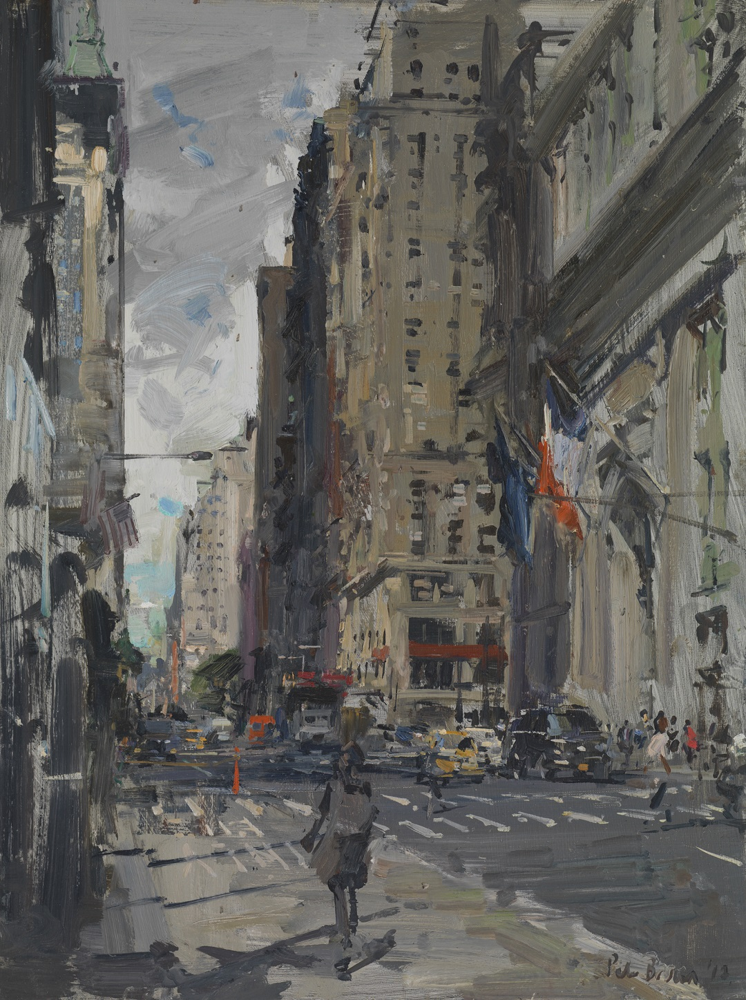 'Downtown Broadway, New York' Peter Brown Oil on board, 16x12, 2017