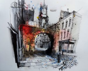 'Eastgate Clock, Chester – Watercolour & Pen Sketch' by Ian Fennelly, An initial wash of watercolour was laid down, then the tonal values built up with brush pens, and all the detail developed with fine liner.