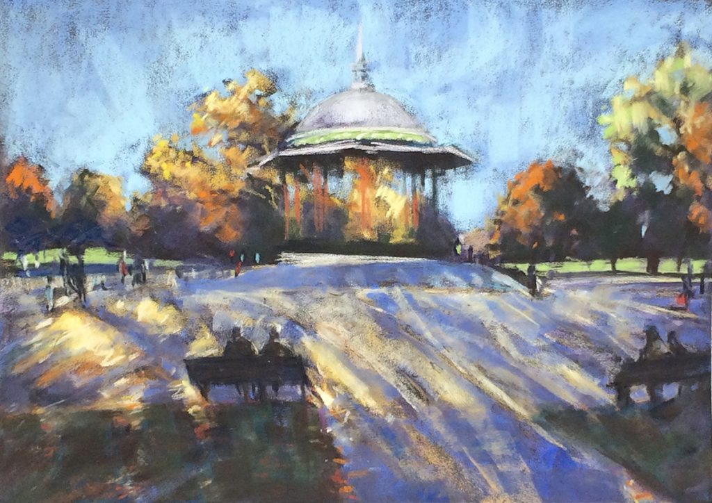 'Clapham Common Autumn' by Louise Gillard – Winner of a year's Silver membership of the Pastel Academy run by artist and tutor Heather Harman and a Set of 60 Art Spectrum Soft Pastels in a Wooden Box worth £194. Created using Sennelier Soft Pastels on Hahnemuhle Velour Paper, 38 cm x 28 cm