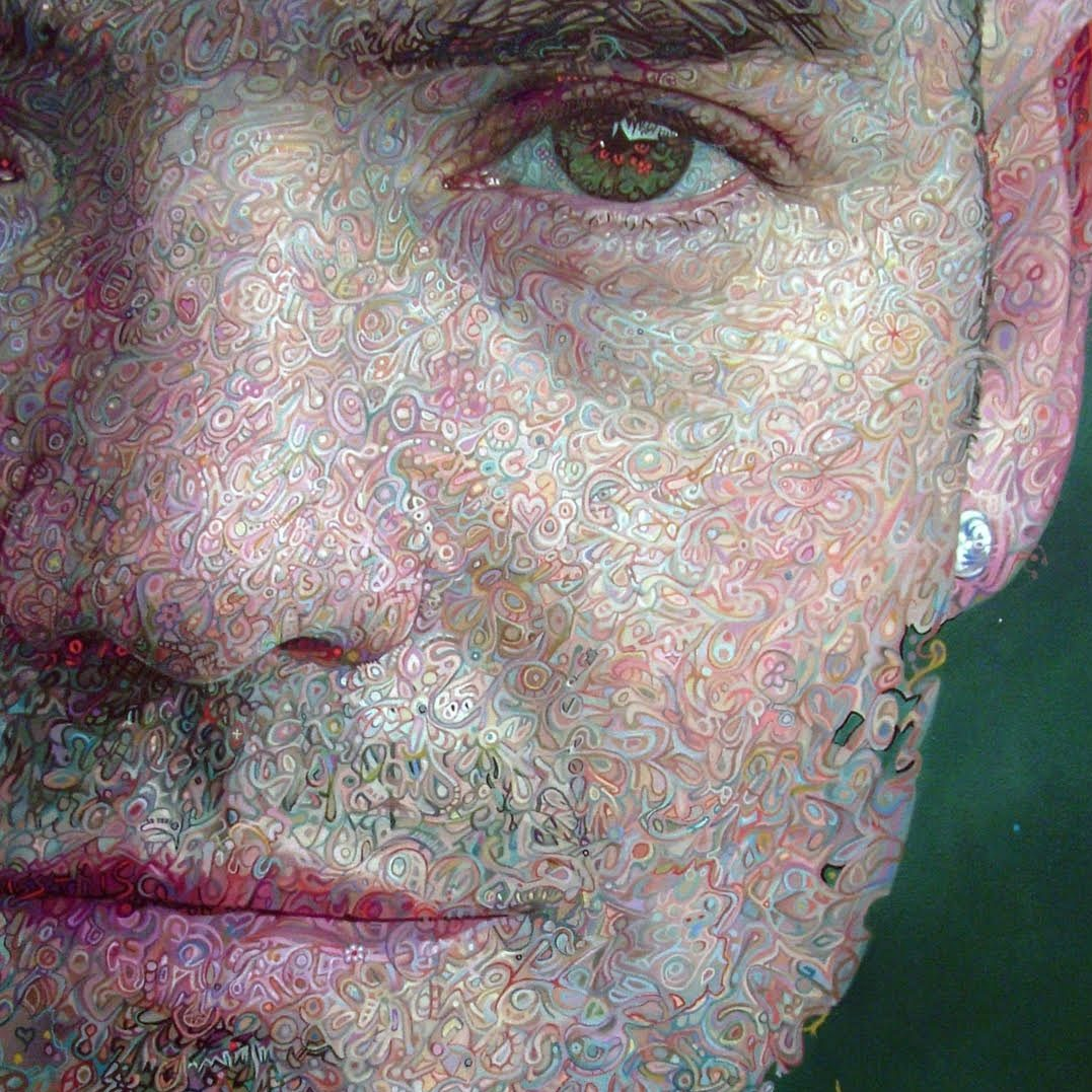 "'Self Portrait (detail)' Mark Roscoe Oil on canvas, 72"" x 50"""