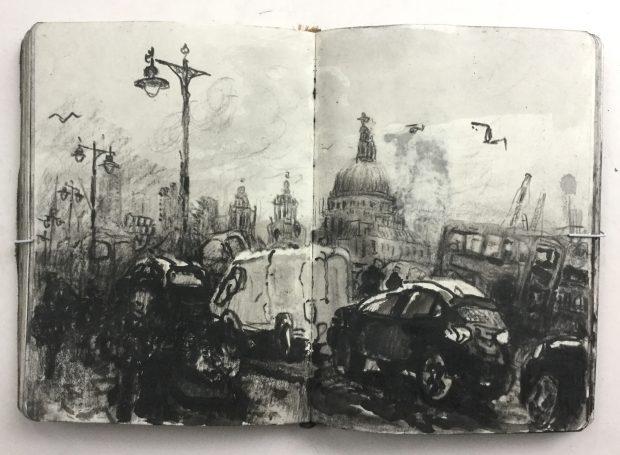 'Sketchbook, London' Christopher Green Ink & pencil, 17x24cm, 2017