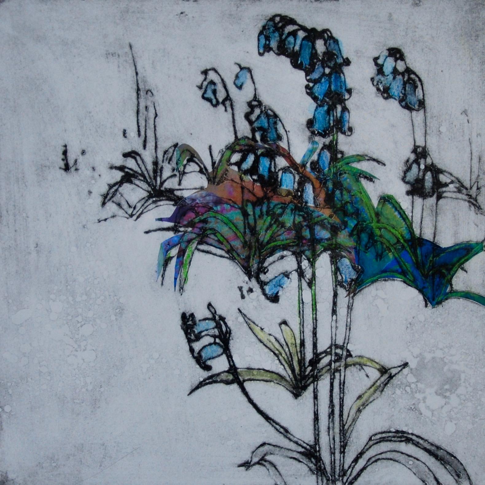 'Bluebells' Anna Perlin Unique Carborundum print with chine colle, 30cm x 30cm, 2016