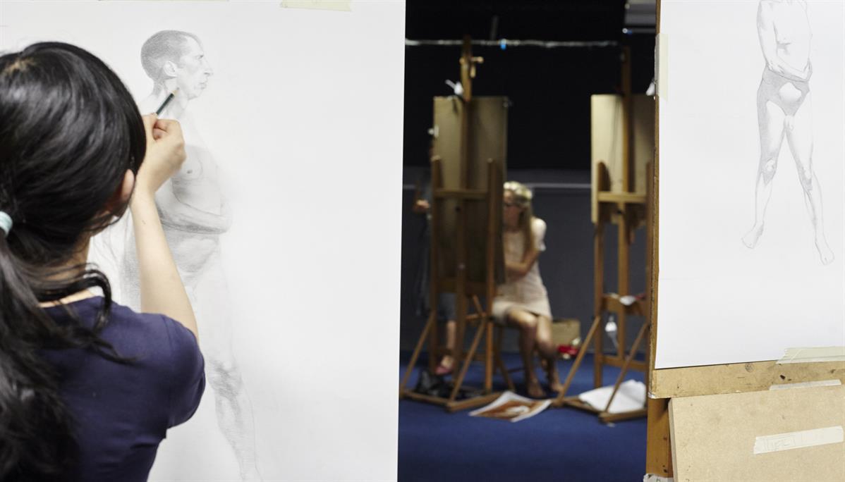 Figure, pencil study, LARA Bristol workshop.