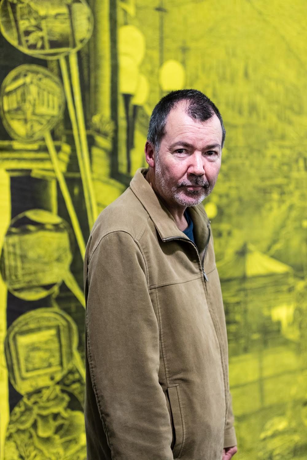 Gary Lawrence in front of his Jerwood winning drawing Photo © Hydar Dewachi.