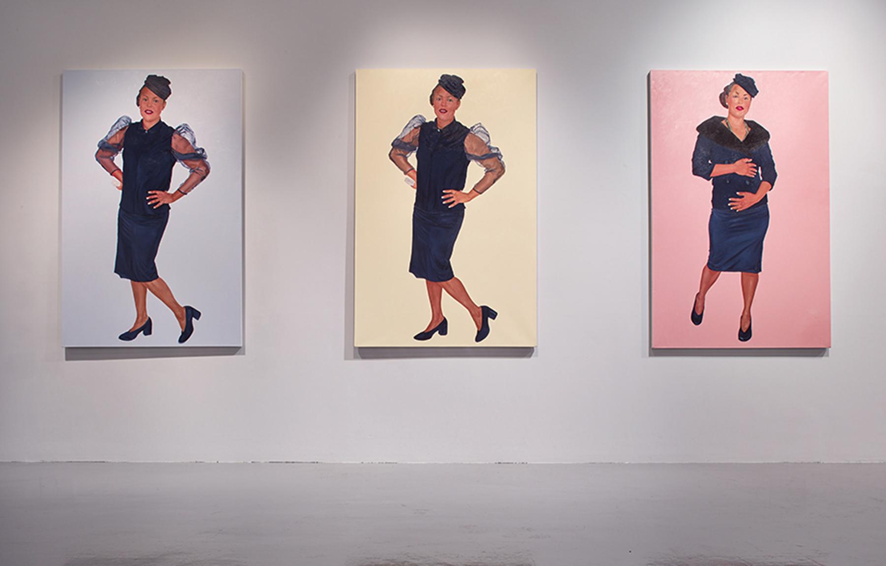 Installation View, Eugene Palmer, Didn't it Rain, Black I (blue), Black II (yellow), Black (pink) oil on canvas, 240cm x 155cm, 2018 Photography- Steve White
