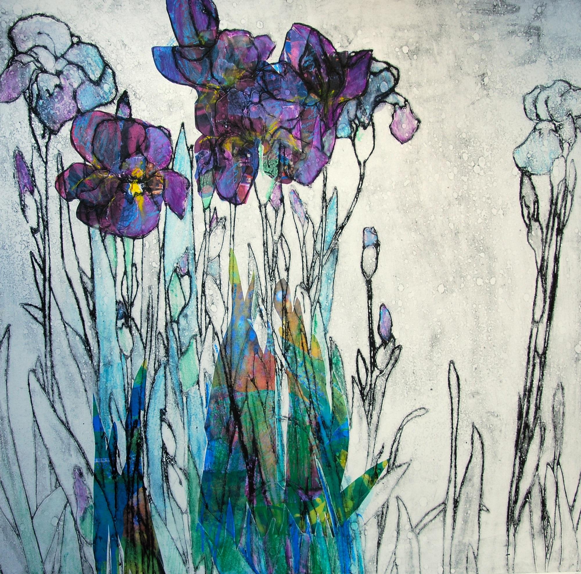 'Irises' Anna Perlin Unique Carborundum print with chine colle, 70cmx70cm, 2016