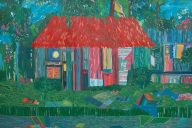 Kathryn Maple, RED ROOF, Oil on Paper, H120 x W150cm